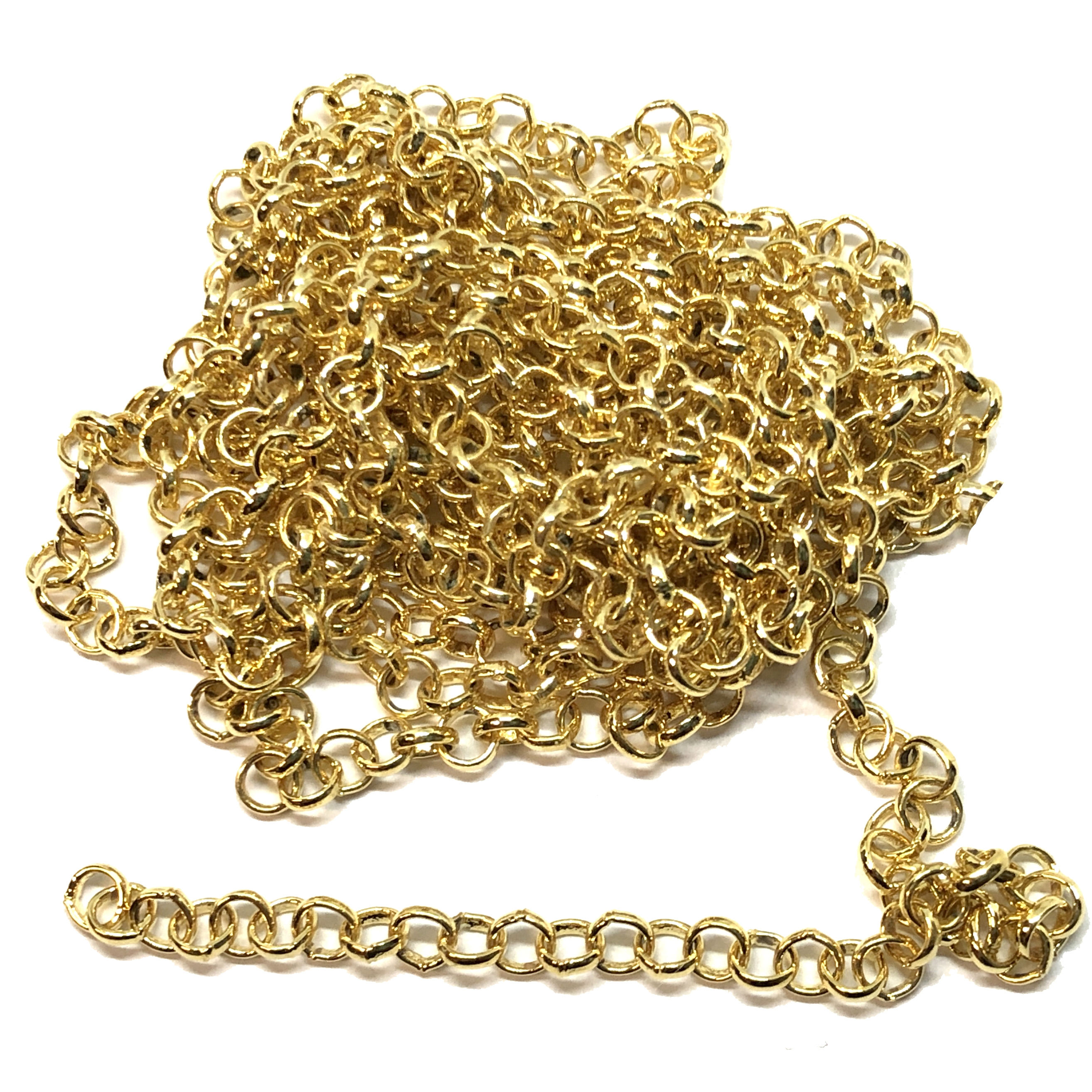 brass chain, jewelry chain, rolo chain, 02623, satin matte gold rolo chain, B'sue Boutiques, nickel free chain, US Made chain,vintage jewellery supplies, jewelry making supplies, bracelet chain, necklace chain, antique gold