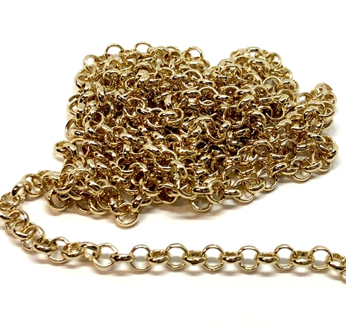 brass chain, jewelry chain, rolo chain, 02624, gold plate rolo chain, B'sue Boutiques, nickel free chain, US Made chain,vintage jewelry supplies, jewelry making supplies, bracelet chain, necklace chain, antique gold