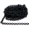 brass chain, jewelry chain, rolo chain, 02625, matte black rolo chain, B'sue Boutiques, nickel free chain, US Made chain, vintage jewellery supplies, jewelry making supplies, bracelet chain, necklace chain, antique black