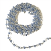 sapphire glass beaded chain, bead and link chain, wire wrapped chain, silver plate chain, sapphire glass beads, jewelry chain, jewelry supplies, vintage supplies, bead chain, handmade chain, glass beads, chain, beaded chain, 3.5mm link, 02628