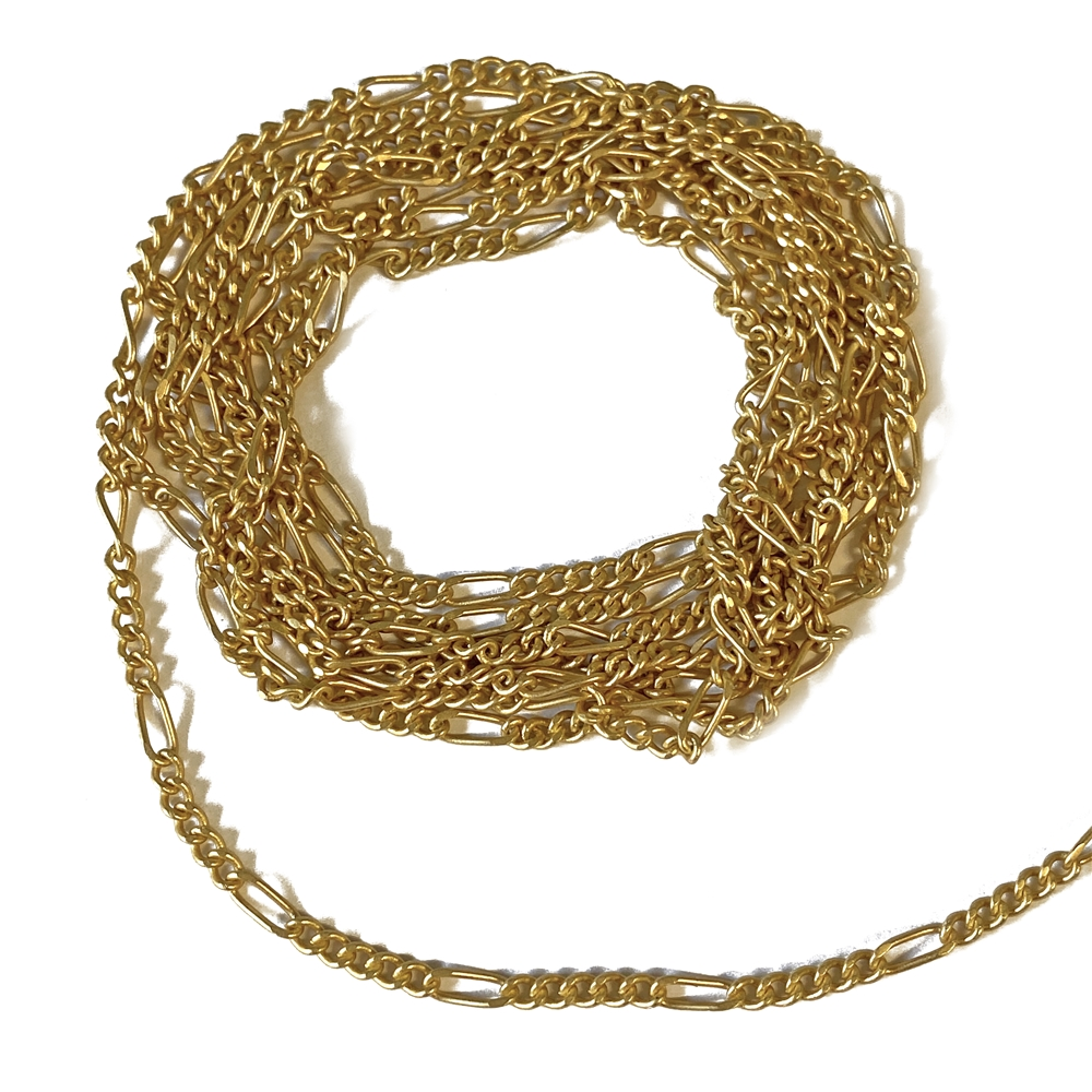 satin matte gold figaro chain, figaro chain, chain, gold chain, matte gold chain, jewelry chain, figaro jewelry chain, jewelry making, vintage supplies, jewelry supplies, chain supplies, jewelry findings, gold, matte gold, gold figaro, 02629