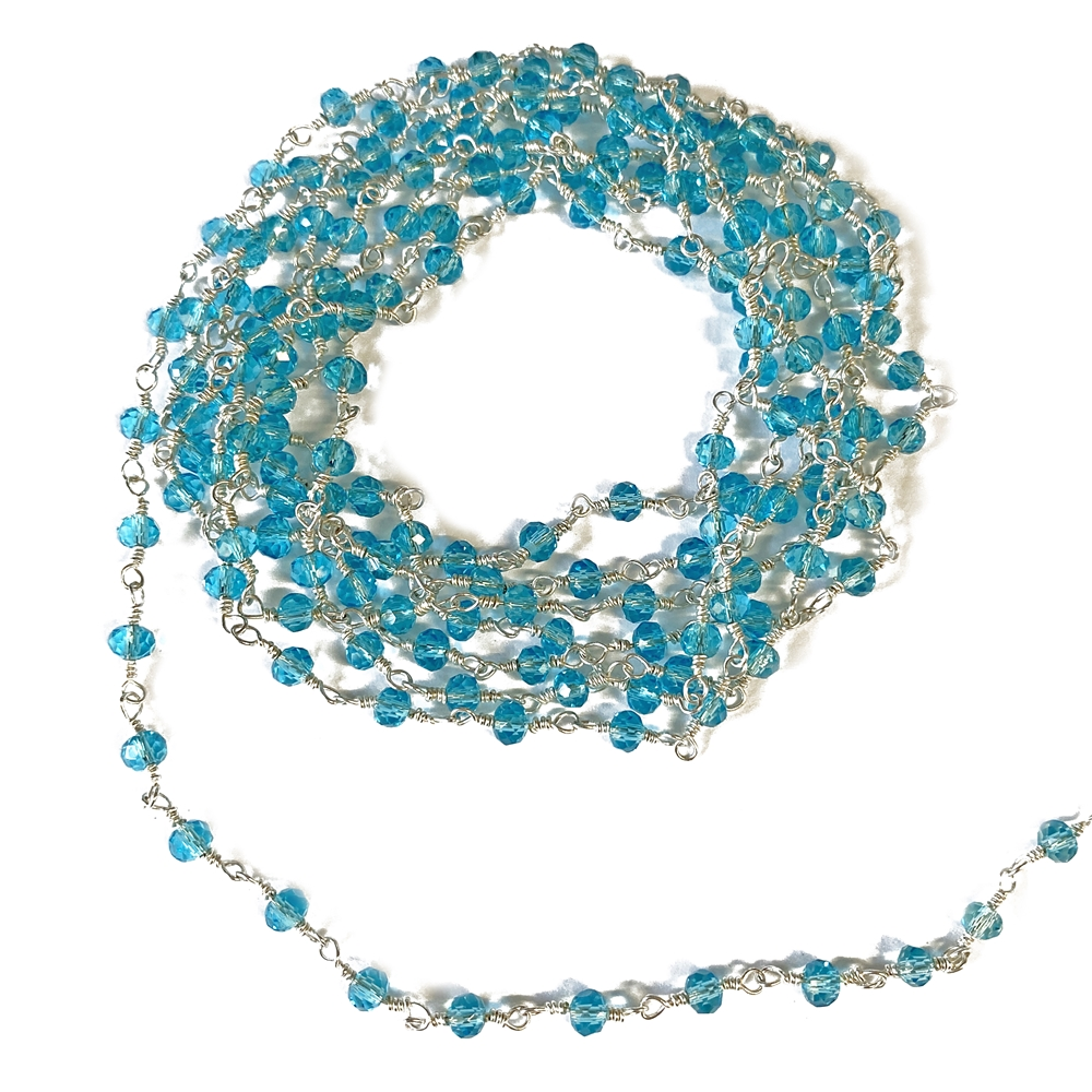 aqua glass beaded chain, bead and link chain, wire wrapped chain, silver plate chain, aqua glass beads, jewelry chain, jewelry supplies, vintage supplies, bead chain, handmade chain, glass beads, chain, beaded chain, 3.5mm link, aqua, 02630