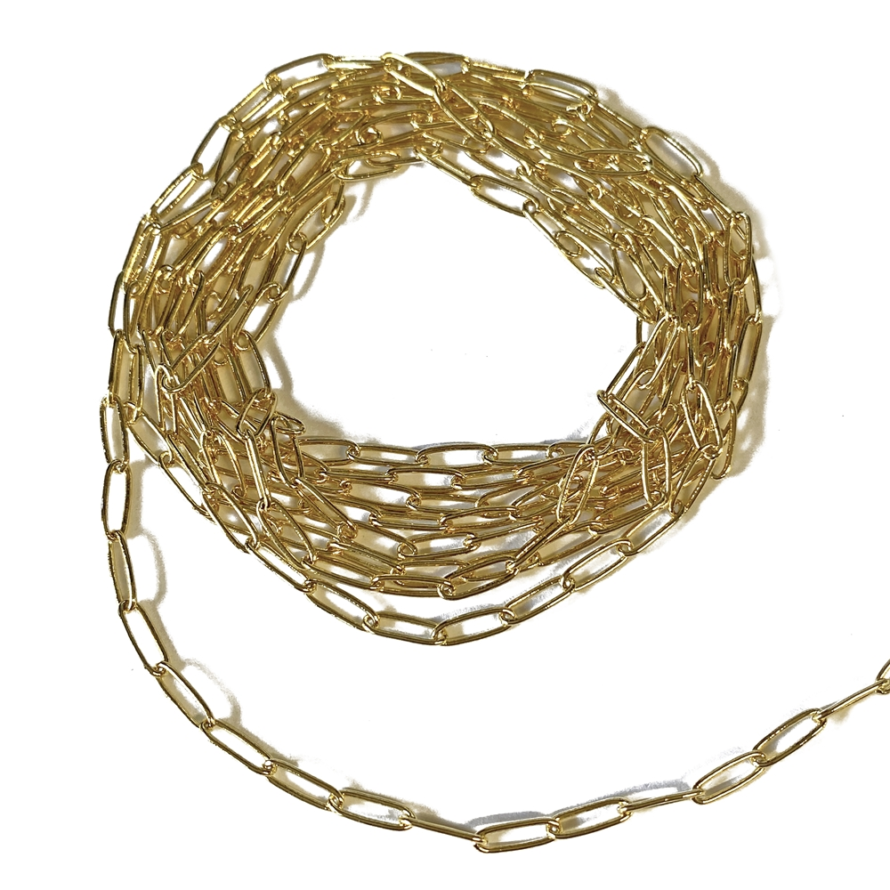 paper clip chain, gold plated, chain, gold chain, paper clip gold chain, paper clip style chain, jewelry chain, paper clip, gold plated chain, jewelry making, vintage supplies, jewelry supplies, 2x7mm links, delicate chain, jewelry findings, 02631