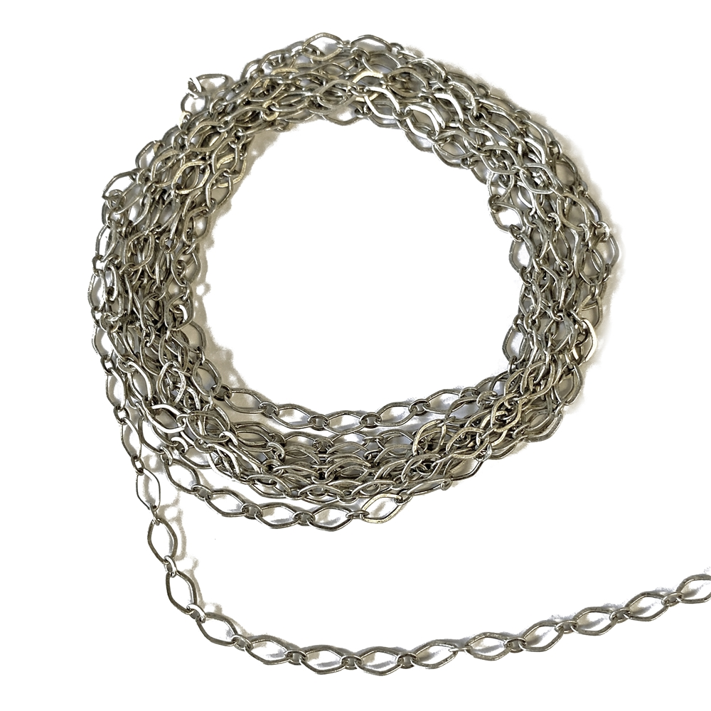 antique silver oval link chain, oval link chain, link chain, chain, jewelry chain, antique silver chain, diamond design chain, notched cable chain, brass chain, US-made, nickel free, jewelry making, chain supplies, bracelet chain, vintage supplies, 02635