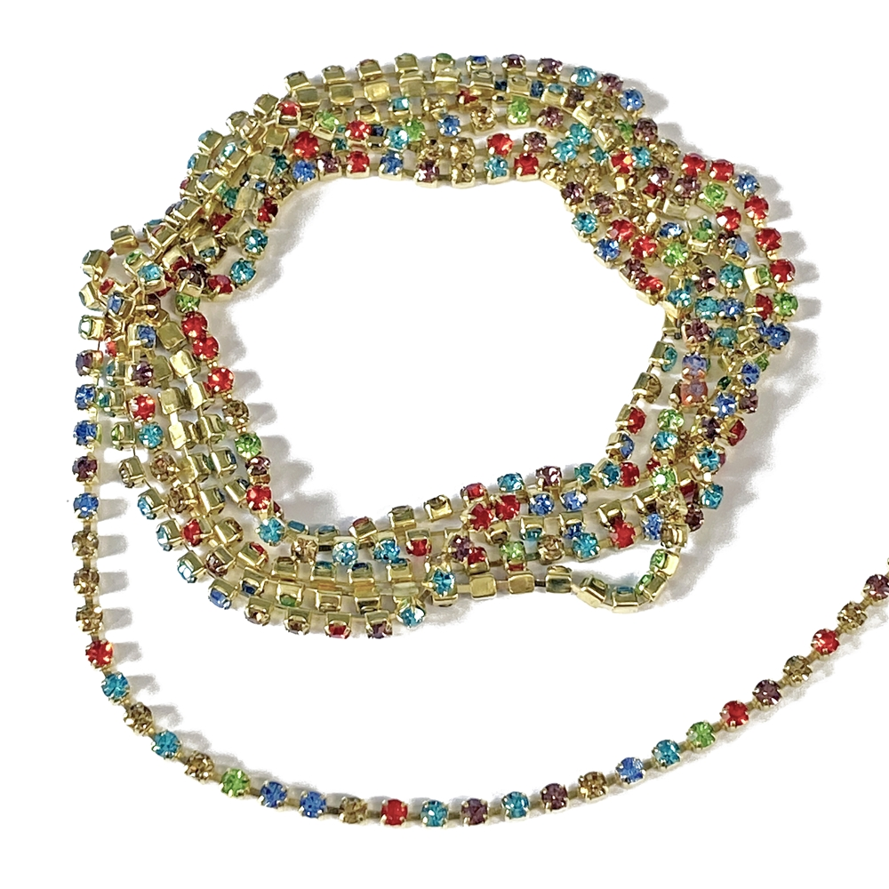 multi-colored rhinestone cup chain, cup chain, rhinestone chain, colorful rhinestone chain, chain, jewelry chain, raw brass chain, 2mm rhinestone chain, colorful chain, jewelry making, vintage supplies, jewelry supplies, jewelry findings, 02984