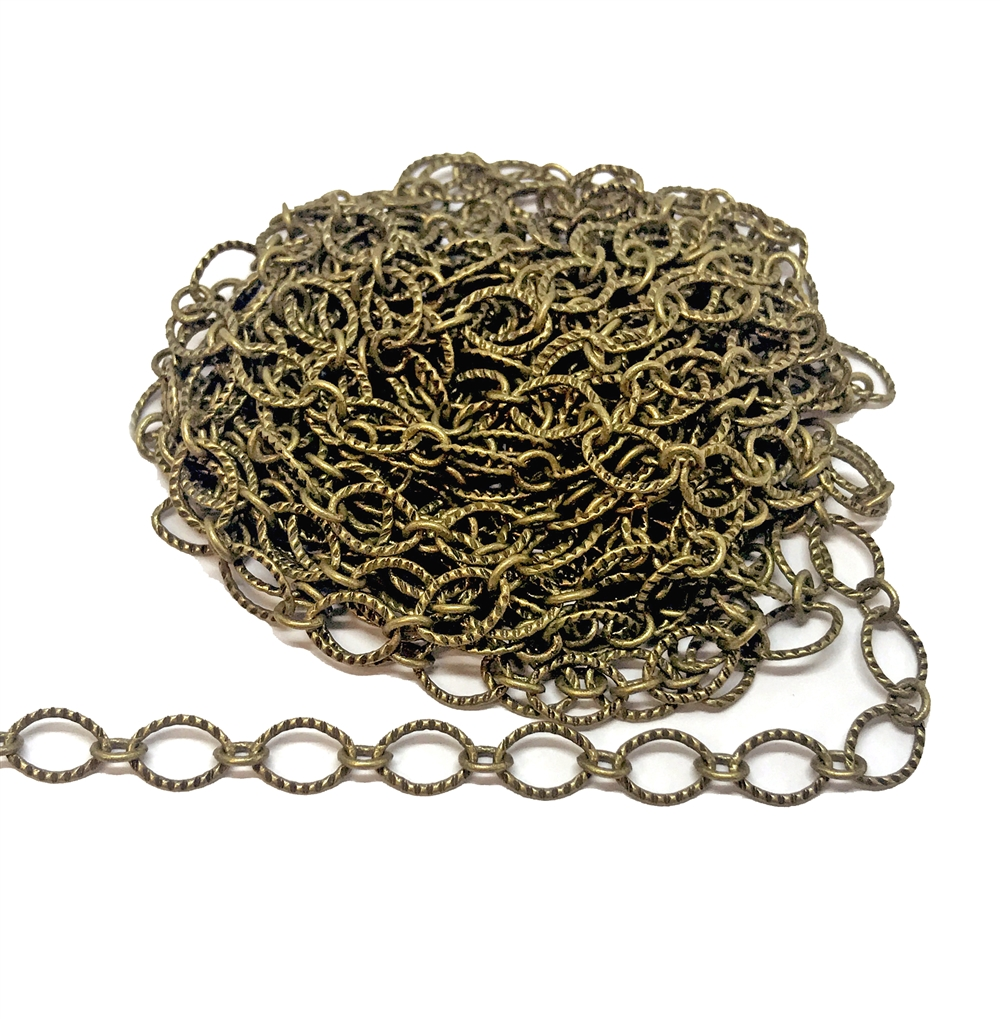 notched cable chain, antique brass, oval chain, brass chain, 03355, B'sue Boutiques, nickel free, us made chain, jewelry chain, jewelry making chain, bracelet chain, necklace chain, brass ox chain, antique brass chain, jewelry supplies, jewelry findings