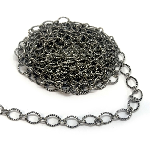 notched cable chain, antique silver, oval chain, brass chain, 03356, B'sue Boutiques, nickel free, us made chain, jewelry chain, jewelry making chain, bracelet chain, necklace chain, matte silver, antique silver chain, jewelry supplies, jewelry finding