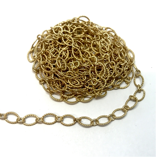 notched cable chain, antique gold, oval chain, brass chain, 03358, B'sue Boutiques, nickel free, us made chain, jewelry chain, jewelry making chain, bracelet chain, necklace chain, matte gold chain, satin matte gold, jewelry supplies, jewelry findings