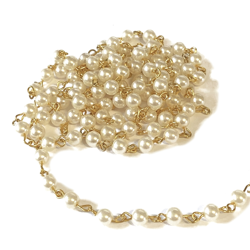 vintage pearl chain, 6mm, pearl chain, vintage supplies, brass chain, pearls, jewelry chain, jewelry supplies, 6mm pearls, chain supplies, simulated imitation pearls, plastic pearl chain, jewelry making, jewelry findings, chain, vintage chain, 03367