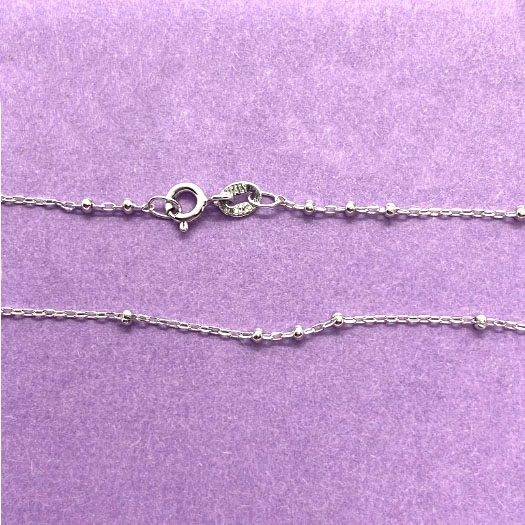 bead and link, Sterling silver chain necklace, liquid silver, Italy, 03745, .925 silver, Italian made, silver chain, complete necklace, 20 inch necklace chain, sterling, silver, B'sue Boutiques, bead and link chain