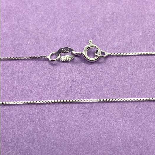 Sterling silver box chain necklace, Italy, 03746, .925 silver, Italian made, silver chain, complete necklace, 20 inch necklace chain, sterling, silver, B'sue Boutiques, box chain