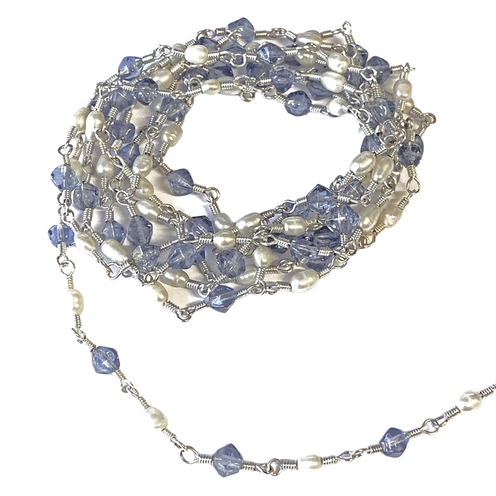 vintage sapphire and pearl chain, 04020, simulated imitation beads, simulated imitation pearls, beading supplies, vintage chain, wire wrapped chain,