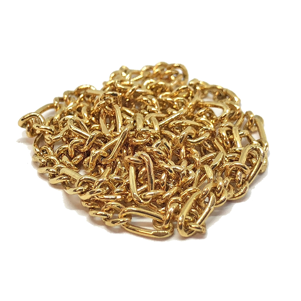 figaro gold plate chain, jewelry chain, gold plate, chain, gold chain, figaro chain, 3x7mm links, jewelry making, jewelry supplies, chain supplies, vintage supplies, jewelry findings, antique gold chain, B'sue Boutiques, US-made chain, brass chain, 04038