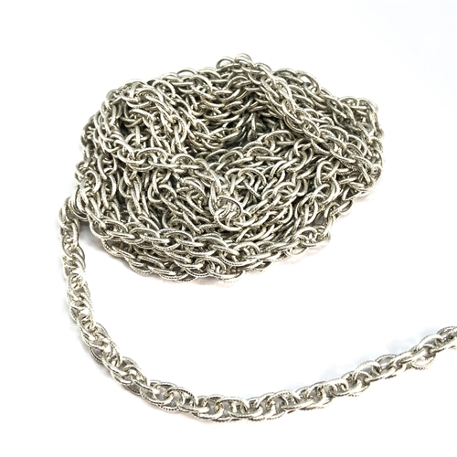 vintage rope chain, jewelry chain, 04085, large link chain, pattern chain, antique silver, imitation rhodium chain,  vintage jewelry supplies, jewelry making supplies