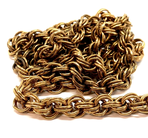 vintage double link cable chain, jewelry chain, 04789, large link chain, pattern chain, necklace with clasp, antique brass, dark patina brass, vintage jewelry supplies, jewelry making supplies