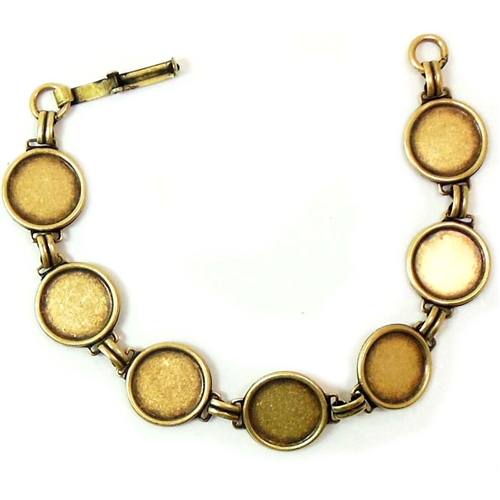 brass bezel bracelet, bezel bracelet, bezel links, bezel, 13mm bezel, plated bezel bracelet, B'sue Boutiques, made in the USA, US made bezel bracelet, button bracelet, bracelet for buttons, button, 13mm button bracelet, brass ox button bracelet