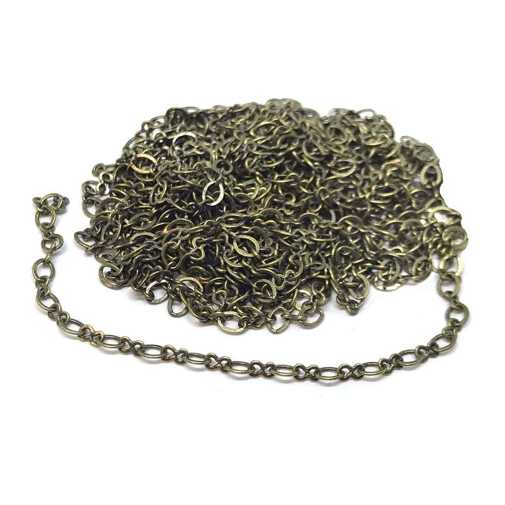 brass chain, brass ox chain, figure 8 chain, jewelry chain, 04925, B'sue Boutiques, nickel free chain, US made chain, necklace chain, bracelet chain, jewelry making chain, antique brass chain, vintage jewellery supplies, vintage chain, infinity