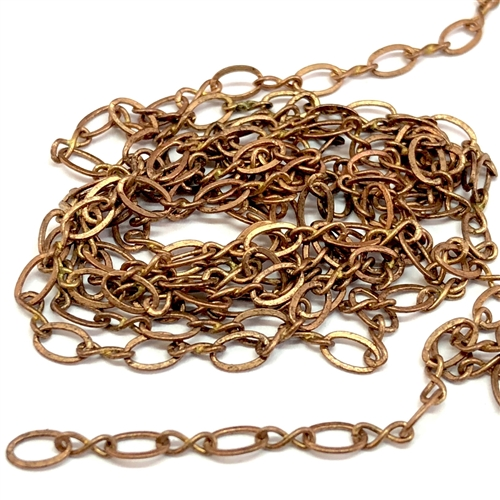 brass chain, raw brass chain, figure 8 chain, jewelry chain, 04928, B'sue Boutiques, nickel free chain, US made chain, unplated chain, necklace chain, bracelet chain, jewelry making chain, antique reddish brass, vintage jewellery supplies, vintage chain,
