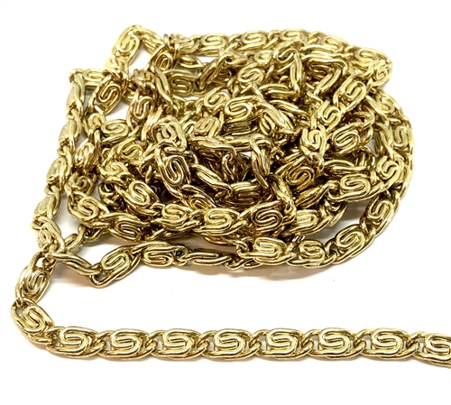 vintage scroll chain, jewelry chain, 05268, pattern chain, antique gold, gold plate chain,  vintage jewelry supplies, jewelry making supplies