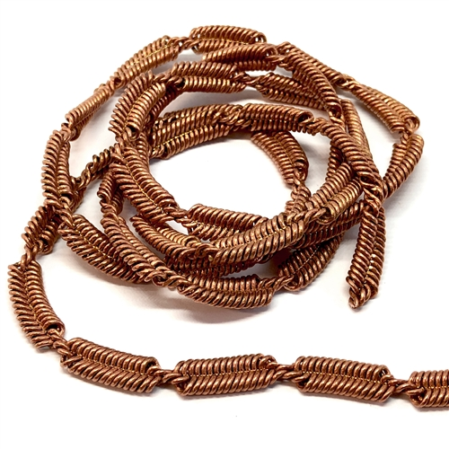vintage braided chain, jewelry chain, 05278, copper coat, coil chain, vintage jewelry supplies, jewelry making supplies,
