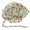 crystal glass bead chain, raw brass links, unplated brass, India glass, chain, wire wrapped beads, transparent beads, rosary chain, glass beads, beading supplies, 3 feet, wire wrapped chain, jewelry making, crystal beads, vintage supplies, 4mm, 05700