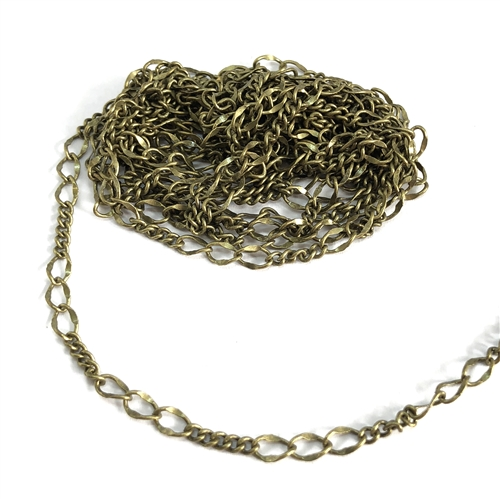 brass chain, figaro chain, antique brass, 06634, jewelry chain, vintage jewelry supplies jewelry making supplies, US made chain, nickel free chain, bsueboutiques, brass ox chain, figaro jewelry chain,