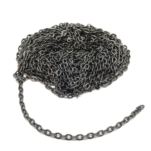 gunmetal cable chain, cable chain, gunmetal, chain, jewelry chain, gunmetal chain, delicate chain, textured chain, brass chain, 3x4mm links, jewelry supplies, vintage supplies, B'sue Boutiques, nickel free, US made, oval link chain, jewelry making, 06758