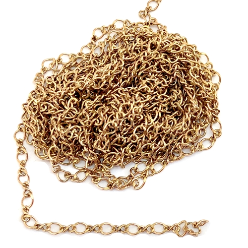 figure 8 chain, delicate chain, curb chain, 07073, B'sue Boutiques, nickel free chain, US made chain, jewelry chain, vintage jewellery supplies, bracelet chain, necklace chain, raw brass chain, twisted chain, antique brass