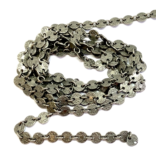 vintage jewelry chain, designer chain, 07079, antique pewter, B'sue Boutiques, nickel free, US made, brass jewelry supplies, vintage jewelry supplies, beading supplies, bracelet chain, necklace chain, disc chain