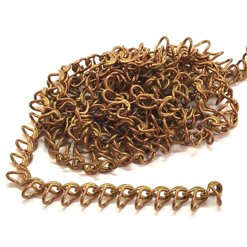 brass jewelry chain, copper coat, 07515, loop chain, beading supplies, copper coat chain, brass jewelry supplies, vintage jewelry supplies, B'sue Boutiques, nickel free, US made, open loop chain, designer chain