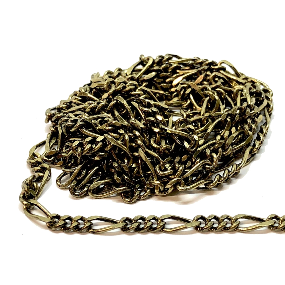 brass chain, figaro chain, antique brass