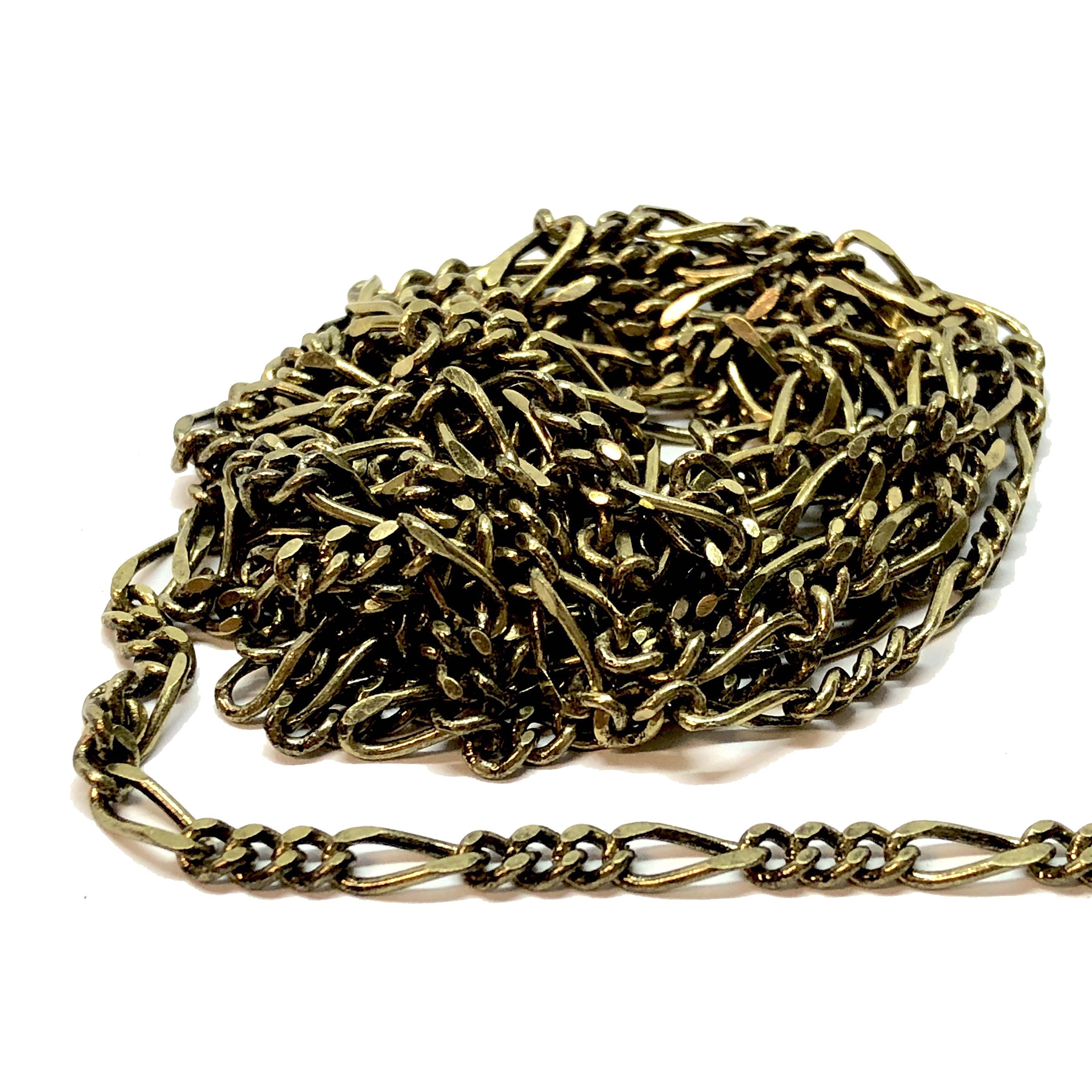 figaro antique brass chain, antique brass, figaro chain, brass chain, jewelry supplies, vintage supplies, beading supplies, bracelet chain, necklace chain, chain, jewelry chain, antique brass chain, nickel free, B'sue Boutiques, 3x7 links, 07596