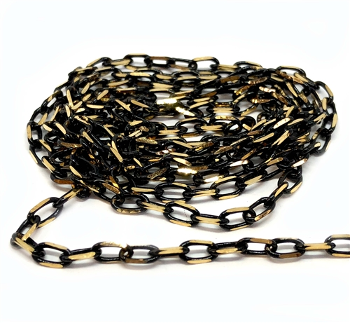 black chain, jewelry chain, brass chain, 07634 B'sue Boutiques, US made jewelry supplies, vintage jewellery supplies, brass chain, jet black, gold plate chain, chain findings, diamond cut chain,  two tone chain