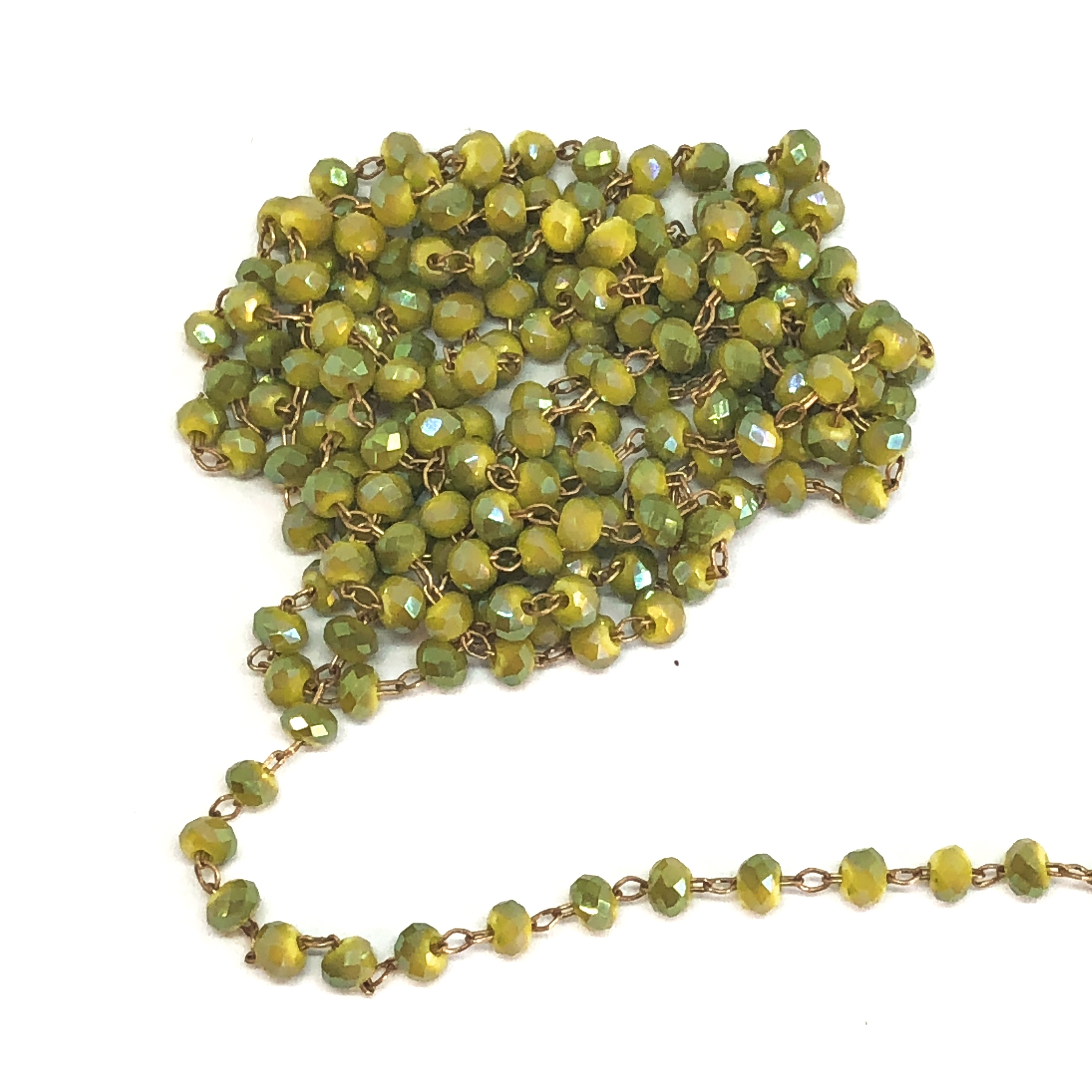 light olivine AB glass bead chain, bead and link chain, antique copper chain, light olivine glass beads, jewelry chain, jewelry making supplies, vintage supplies, light olivine, bead chain, bead chain, glass beads, chain, beaded chain, glass beads, 07828
