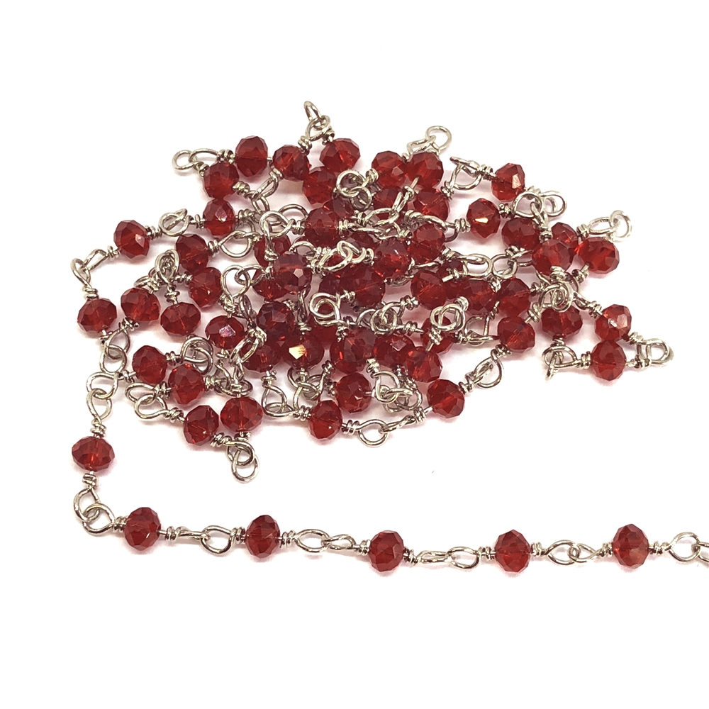 glass bead chain, bead and link chain, wire wrapped chain, silver plate chain, ruby red glass beads, jewelry chain, jewelry making supplies, vintage jewelry supplies, bead chain, handmade chain, glass beads, chain, beaded chain, 07830