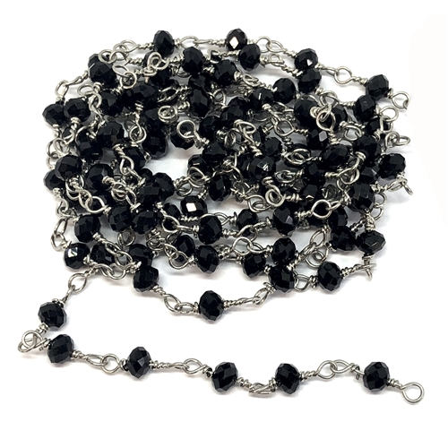 glass bead chain, bead and link chain, wire wrapped chain, silver plate chain, jet black glass beads, jewelry chain, jewelry making supplies, vintage jewelry supplies, bead chain, handmade chain, glass beads, chain, beaded chain, 07831
