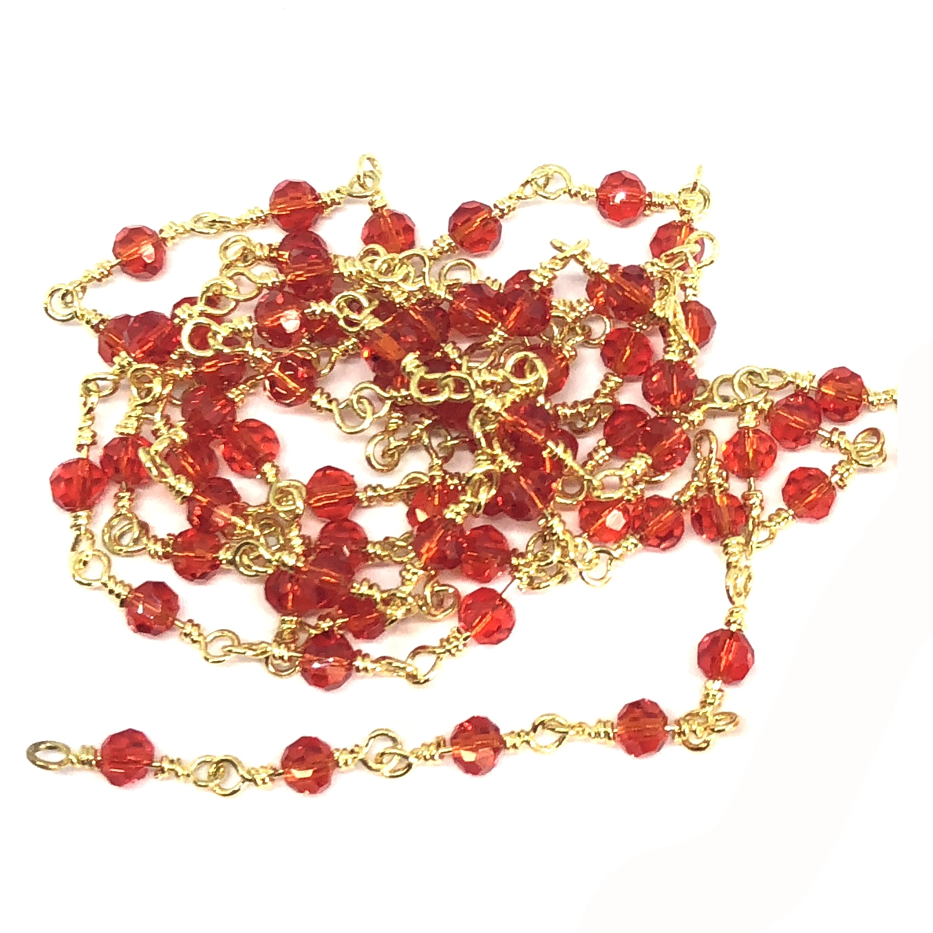 glass bead chain, bead chain, hand wire wrapped chain, gold plate chain, bright red glass beads, jewelry chain, jewelry making supplies, vintage jewelry supplies, bead chain, handmade chain, glass beads, chain, beaded chain, 07834