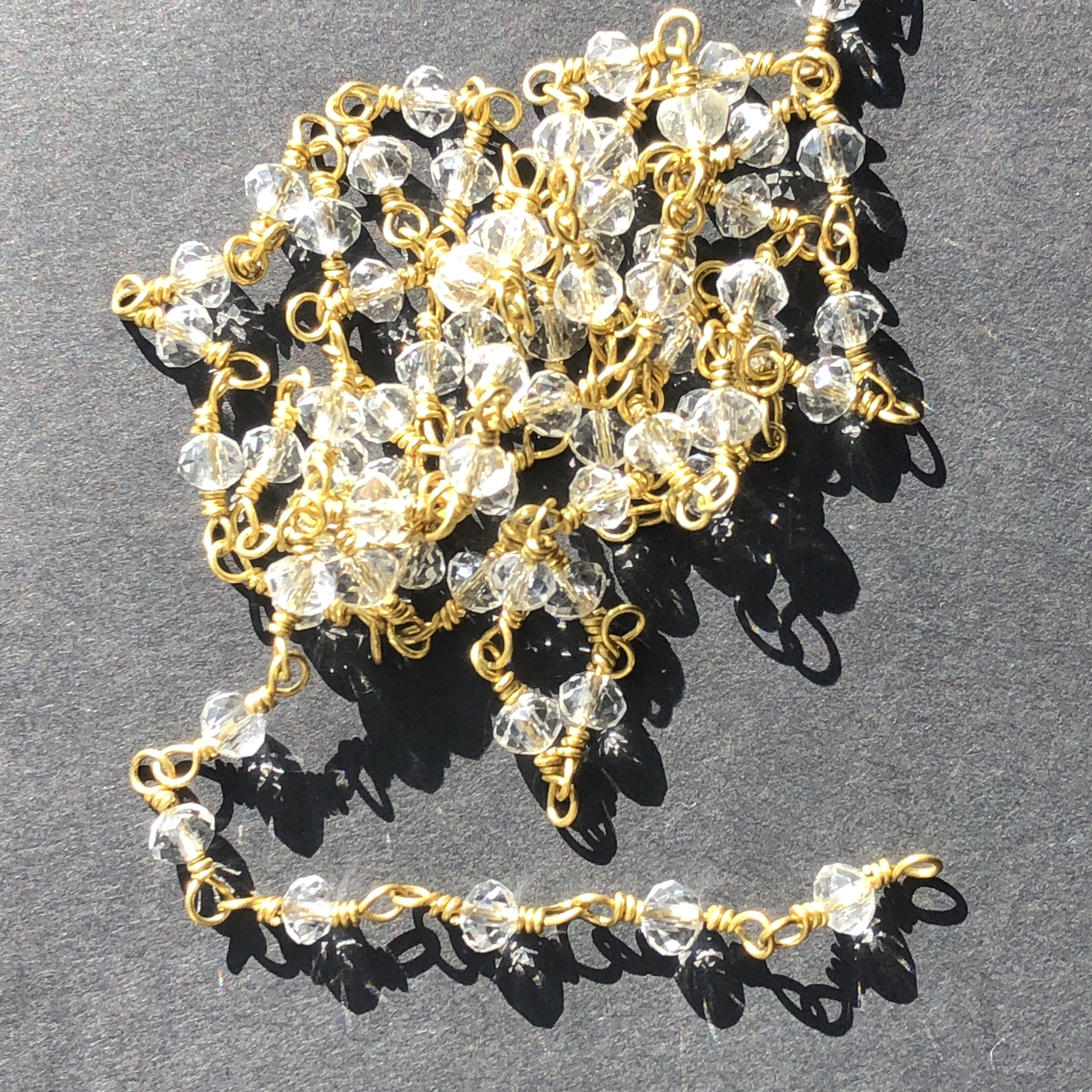 glass bead chain, bead chain, hand wire wrapped chain, antique gold chain, crystal, glass beads, jewelry chain, jewelry making supplies, vintage jewelry supplies, bead chain, handmade chain, glass beads, chain, beaded chain, 07837