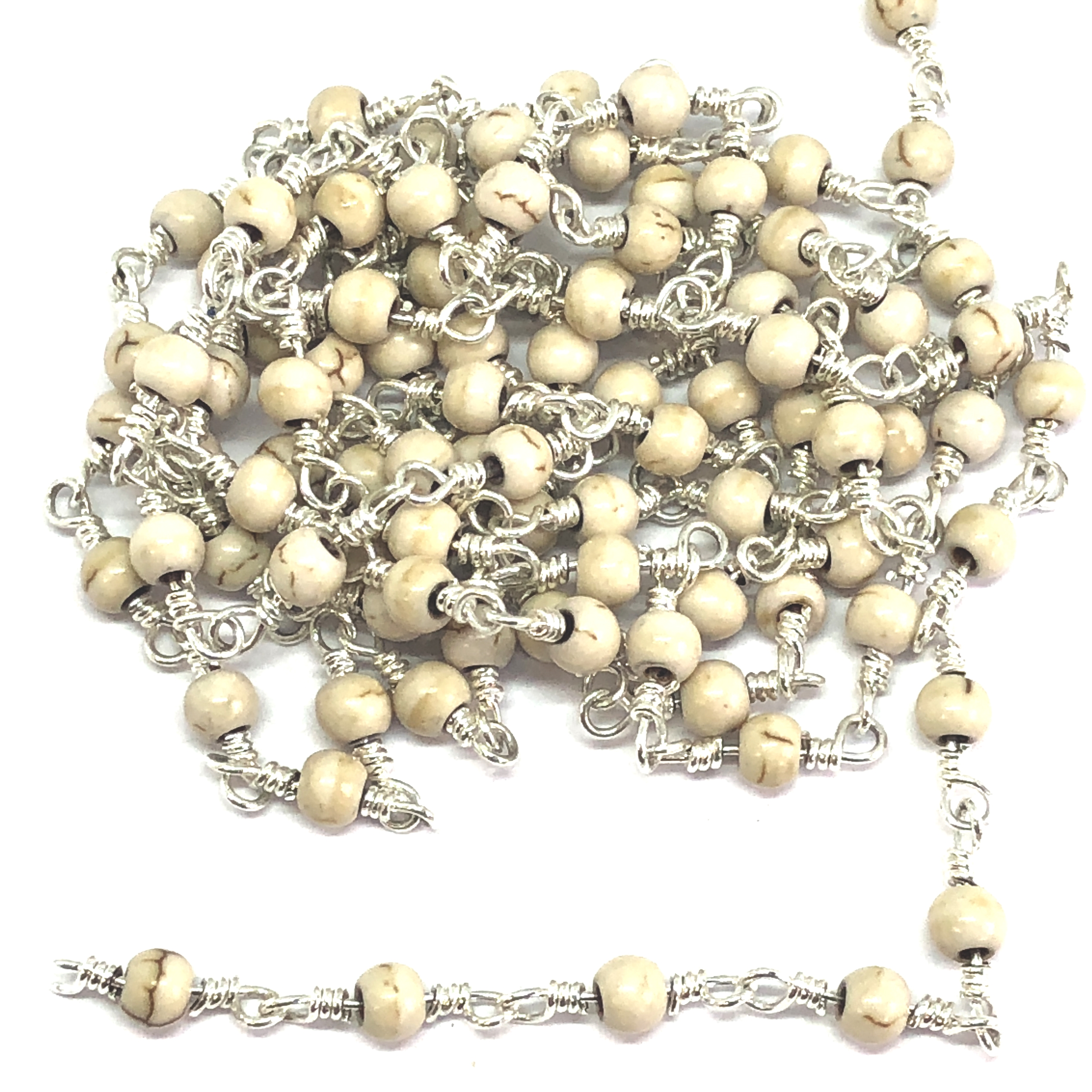 semi precious bead chain, bead chain, hand wire wrapped chain, antique silver chain, howlite beads, jewelry chain, jewelry making supplies, vintage jewelry supplies, bead chain, handmade chain, natural beads, chain, beaded chain, 07852