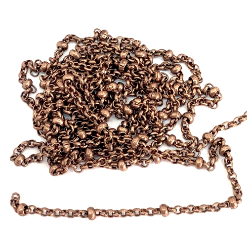 brass chain, antique copper chain, bead and link chain, 07925, B'sue Boutiques, bracelet chain, necklace chain, antique copper chain, nickel free, US made, vintage jewellery supplies, jewelry making,  beading supplies