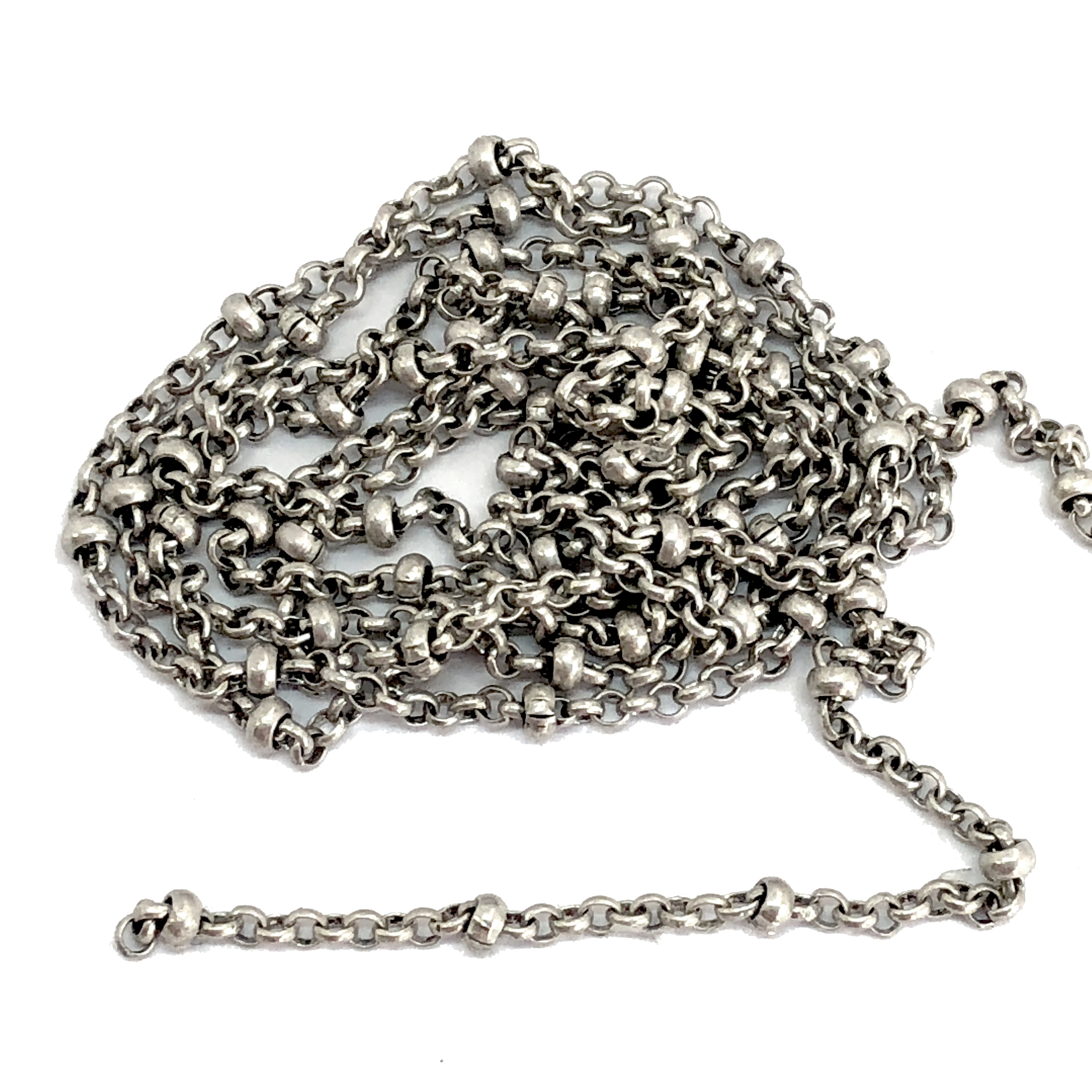 brass chain, antique silver chain, bead and link chain, 07927, B'sue Boutiques, bracelet chain, necklace chain, antique silver chain, nickel free, US made, vintage jewellery supplies, jewelry making,  beading supplies