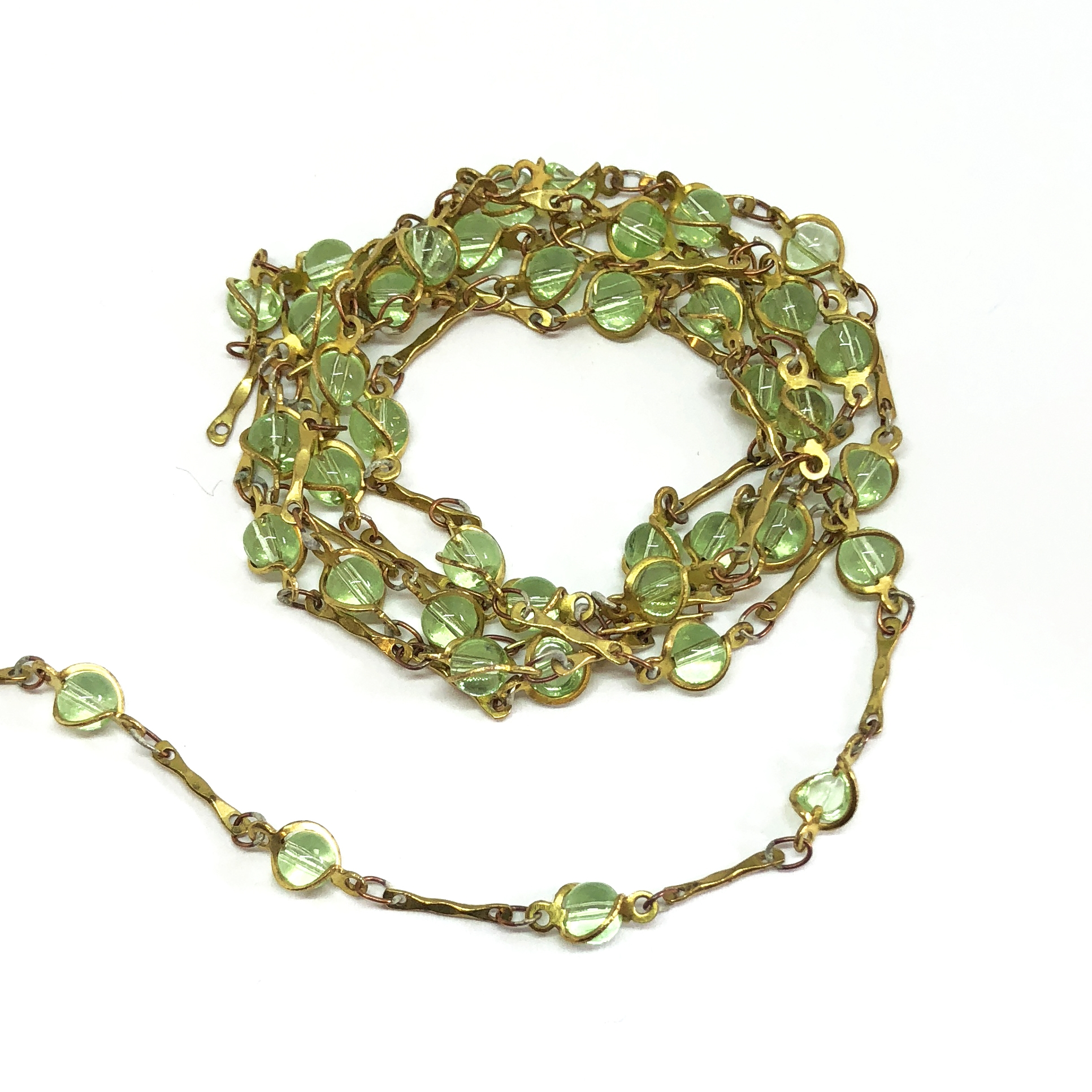 caged bead and link chain, bead chain, peridot bead chain, hand wrapped, jewelry chain, jewelry making supplies, vintage jewelry supplies, bead chain,  glass beads, chain, beaded chain, caged beads, transparent peridot beads, antique brass chain, 08053