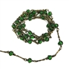 caged bead and link chain, bead and link chain, simulated emerald bead chain,  jewelry chain, jewelry making supplies, vintage jewelry supplies,  glass beads, chain, beaded chain, caged beads, transparent emerald beads, antique brass chain, 08062
