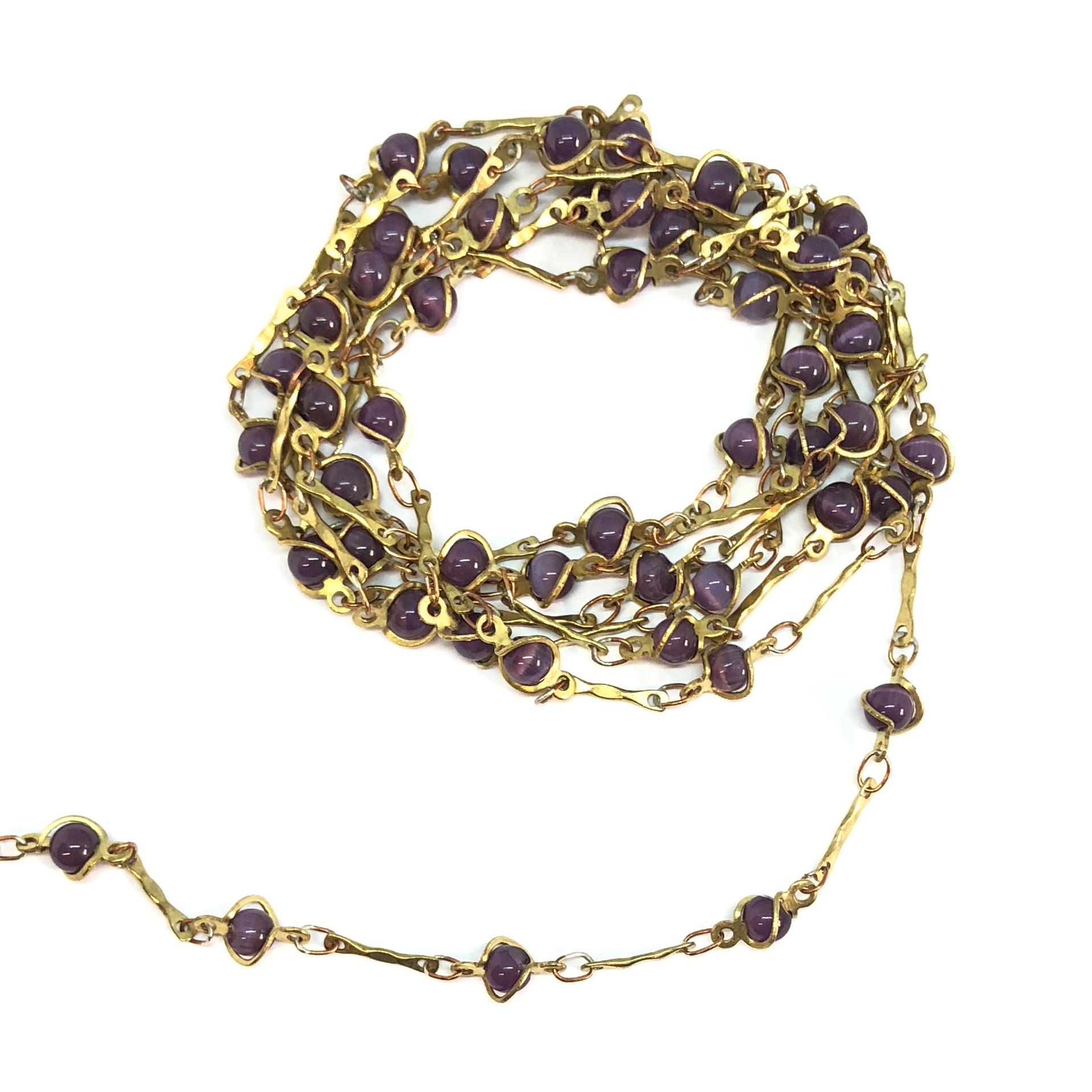 caged bead and link chain, cat's eye bead and link chain, fiber optic bead chain, jewelry chain, jewelry making, vintage jewelry supplies, bead chain, glass beads, chain, beaded chain, caged beads, amethyst beads, antique brass chain, 08063