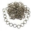 circle link chain, silvertone, 08124, B'sue Boutiques, bracelet chain, necklace chain, silver chain, vintage jewelry supplies, jewelry making, beading supplies, antique brass connector links, 12mm