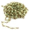 light green jade bead chain, patina brass links, patina brass, chain, wire wrapped links, chain supplies, semi precious beads, rosary chain, beads, beading supplies, wire wrapped chain, jewelry making, light jade, vintage supplies, 4mm, 08414