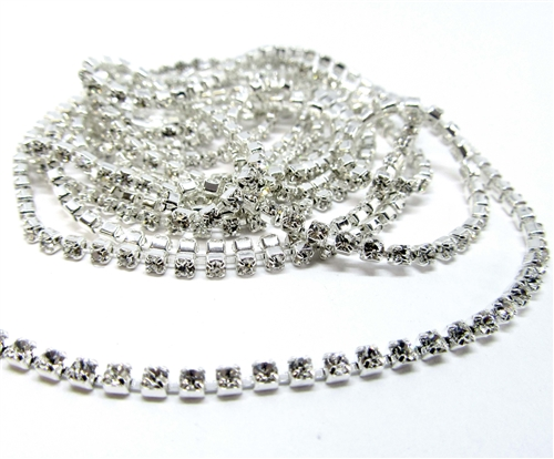 rhinestone chain, crystal, silver plate 08496, B'sue Boutiques, jewelry chain, crystal chain, chain findings, ss6,5, cup chain, rhinestone jewelry chain, Preciosa chain, 2mm chain, Czech crystals