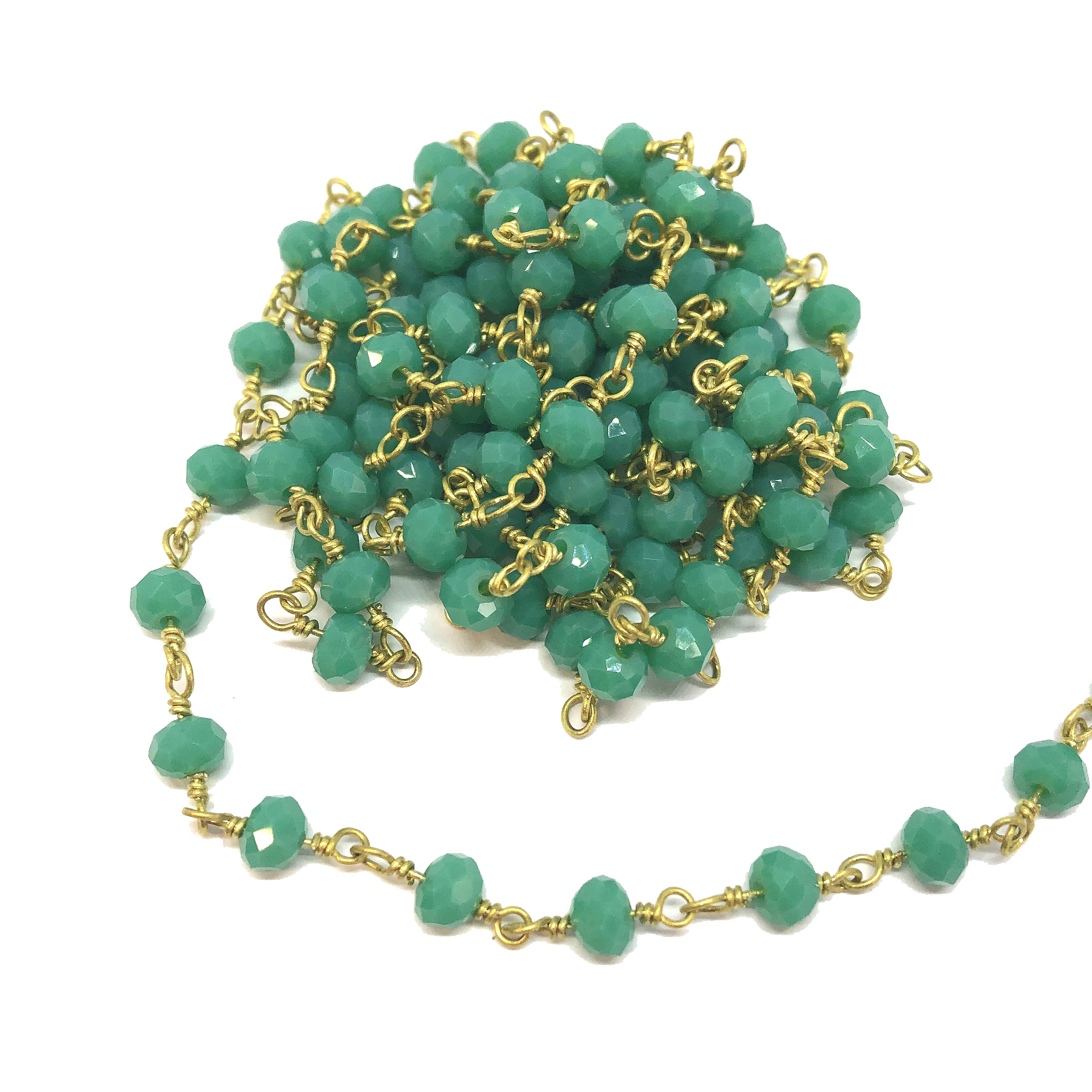 glass bead chain, bead and link chain, wire wrapped chain, deep sea green, glass beads, jewelry chain, jewelry making supplies, vintage jewelry supplies, bead chain, handmade chain, glass beads, chain, beaded chain, 08685, rosary chain, green beads
