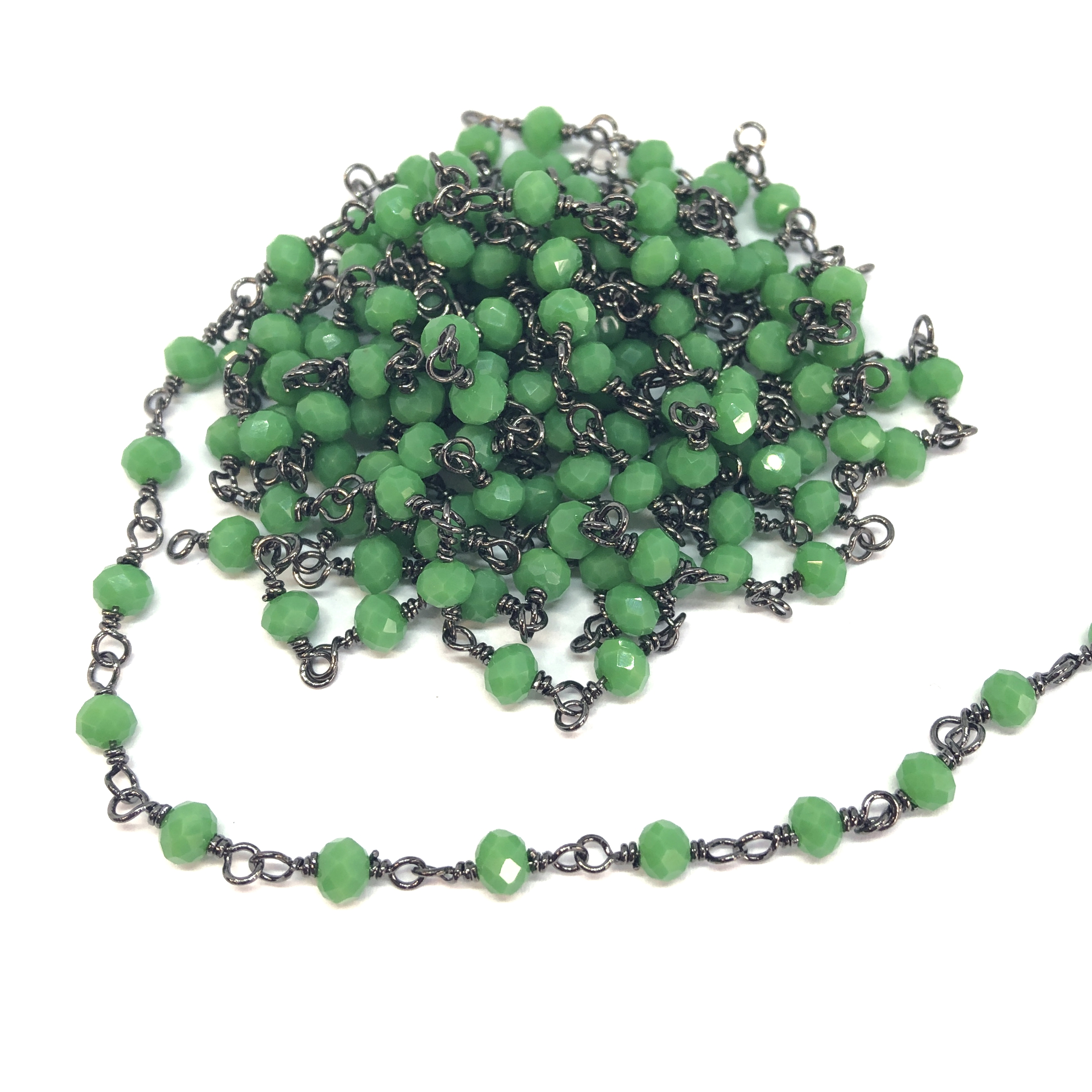 glass bead chain, bead and link chain, wire wrapped chain, Peking green, glass beads, jewelry chain, jewelry making supplies, vintage jewelry supplies, bead chain, handmade chain, glass beads, chain, beaded chain, 08689, rosary chain, grass green beads