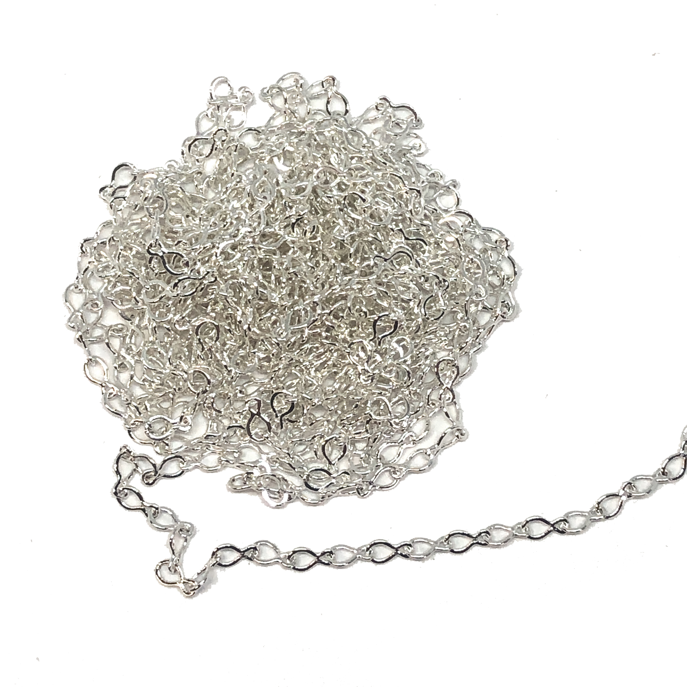 silver link chain, delicate, 09354, dainty chain, silver plated, link chain, teardrop links, nickel free, B'sue Boutiques, jewelry supplies, chain